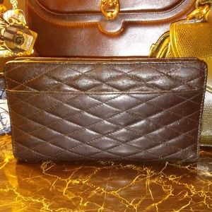 BARNEY'S NEW YORK quilted black leather wallet